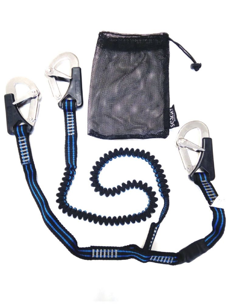 Seago New Safety Line Elastic Harness Triple Hook Sailing Yacht ISO
